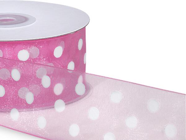"Pink  w/ White Printed Dots Ribbon 1-1/2""x25 yds 100% Nylon Sheer"