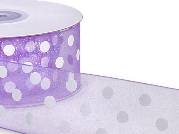 """Lavender w/ White Dots Ribbon 1-1/2""""x25 yds 100% Nylon Sheer"""