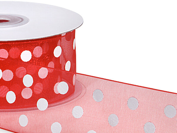"Red w/ White Printed Dots Ribbon 1-1/2""x25 yds 100% Nylon Sheer"