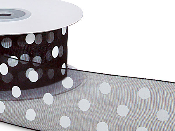 "Black with White Polka Dots Sheer Ribbon, 1-1/2""x25 yards"