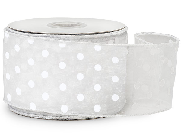 "White with White Polka Dots Sheer Wired Ribbon, 2-1/2""x25 yards"