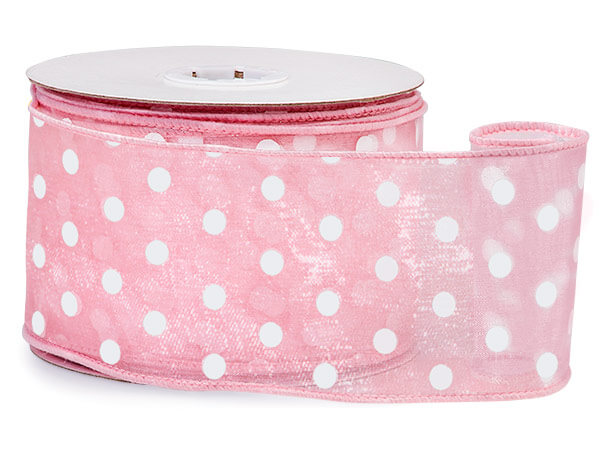 "Pink w/White Polka Dots Ribbon 2-1/2""x25 yds Wired 100% Nylon"