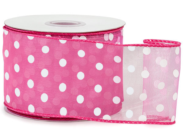 "Pretty Pink with White Polka Dots Sheer Wired Ribbon, 2-1/2""x25 yards"