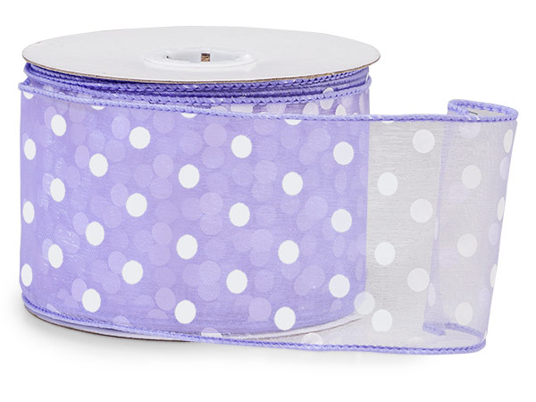 "Lavender w/White Polka Dots Ribbon 2-1/2""x25 yds Wired 100% Nylon"