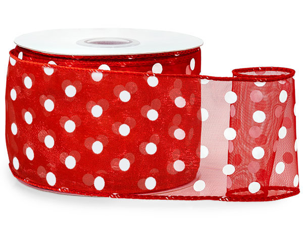 "Red w/ White Polka Dots Ribbon 2-1/2""x25 yds Wired 100% Nylon"