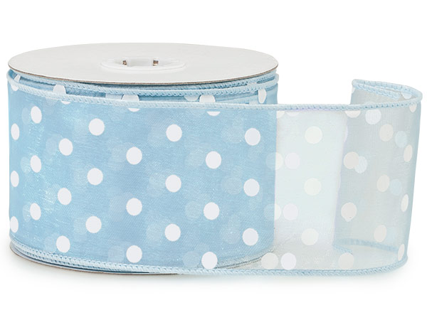 "*Lt. Blue w/White Polka Dots Ribbo 2-1/2""x25 yds Wired 100% Nylon"