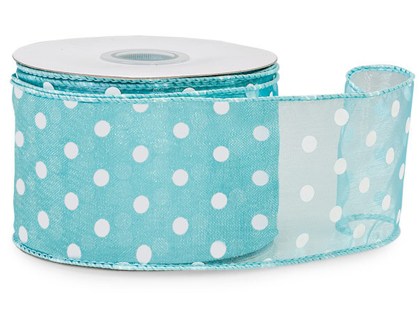"Aqua Blue with White Polka Dots Sheer Wired Ribbon, 2-1/2""x25 yards"