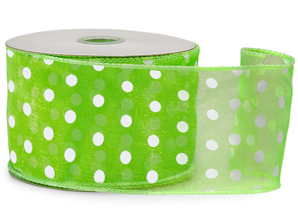 Citrus Wired Polka Dot Sheer Ribbon