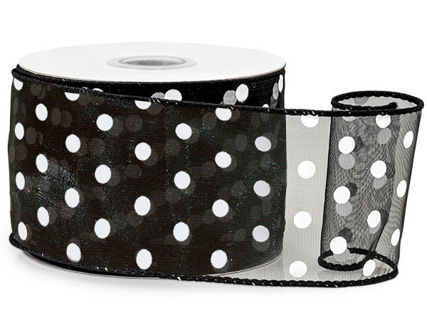"Black w/ White Polka Dots Ribbon 2-1/2""x25 yds Wired 100% Nylon"