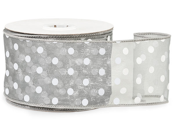 "*Silver w/White Polka Dots Ribbon 2-1/2""x25 yds Wired 100% Nylon"