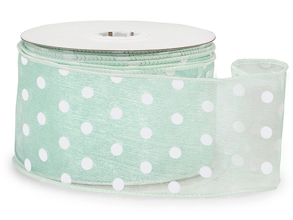 "*Cool Mint with White Polka Dots Sheer Wired Ribbon, 2-1/2""x25 yards"