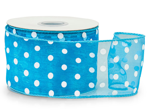 """Turquoise with White Polka Dots Sheer Wired Ribbon, 2-1/2""""x25 yards"""