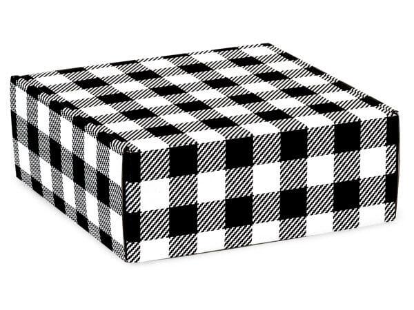 "Buffalo Plaid Black Gourmet Shipping Boxes, 9x9x4"", 6 Pack"