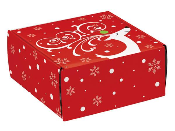 "Dashing Reindeer Gourmet Shipping 9x9x4"" Auto Lock Boxes"