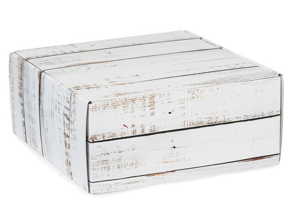 "Distressed Wood Gourmet Shipping Boxes, 9x9x4"", 6 Pack"