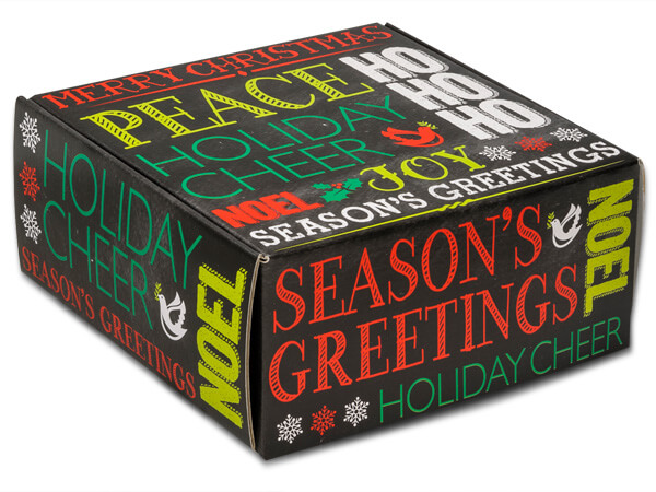 "*Holiday Greetings Chalkboard Boxes 9x9x4"" Auto Lock Boxes"