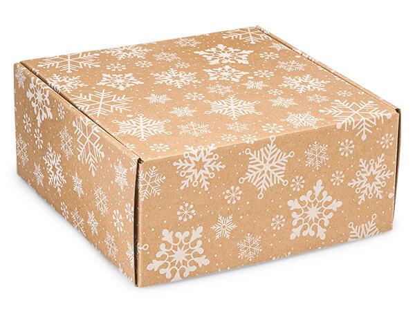 """Kraft Snowflakes Gourmet Shipping 9 x 9 x 4"""" Auto Lock Boxes"""