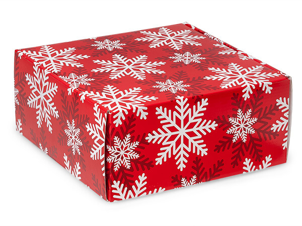 "Red & White Snowflakes Gourmet Shipping 9 x 9 x 4"" Auto Lock Boxes"