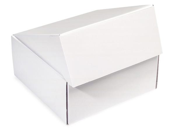 """White Gourmet Shipping Boxes 9x9x4"""" Auto Lock Boxes"""
