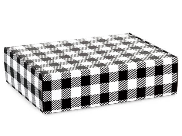"Buffalo Plaid Black Gourmet Shipping Box, 12x9x3"", 6 Pack"