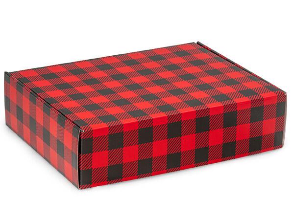 "Christmas Buffalo Plaid Gourmet 12 x 9 x 3"" Auto Lock Shipping Box"