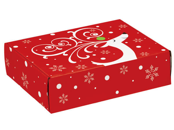 "Dashing Reindeer Gourmet Shipping Boxes 12x9x3"" Auto Lock Boxes"