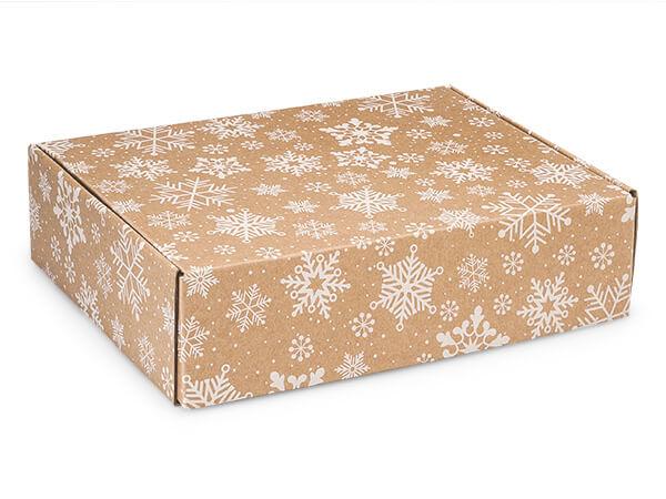 """Kraft Snowflakes Gourmet Shipping 12 x 9 x 3"""" Auto Lock Boxes"""