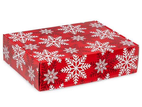 "Red & White Snowflakes Gourmet Shipping Boxes, 12x9x3"", 6 Pack"