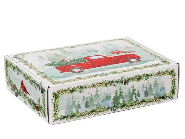"""Christmas Red Truck Gourmet Shipping Boxes, 12x9x3"""", 6 Pack"""