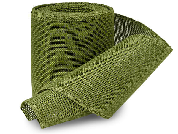 "Green Leaf Burlap Ribbon 4""x10 yds"