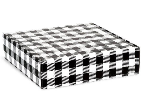 "Buffalo Plaid Black Gourmet Shipping Boxes, 12x12x3"", 6 Pack"