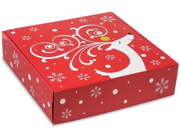 "Dashing Reindeer Gourmet Shipping Boxes 12x12x3"" Auto Lock Boxes"