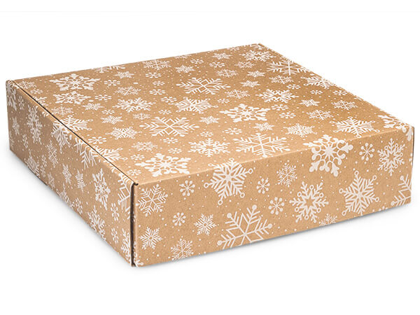 "Kraft Snowflakes Gourmet Shipping Boxes, 12x12x3"", 6 Pack"