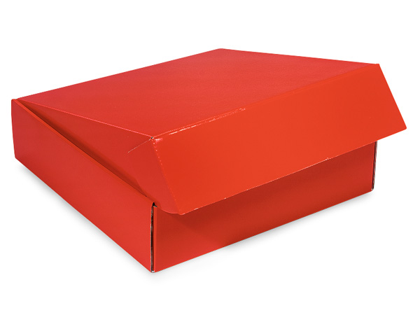 "Red Gourmet Shipping Boxes 12x12x3"" Auto Lock Boxes"