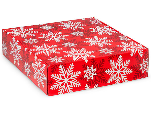 "Red & White Snowflakes Gourmet Shipping 12 x 12 x 3"" Auto Lock Box"