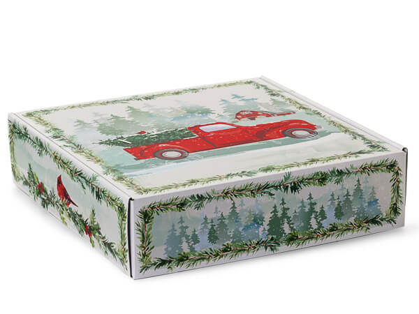 "Christmas Red Truck Gourmet Shipping Boxes, 12x12x3"", 6 Pack"