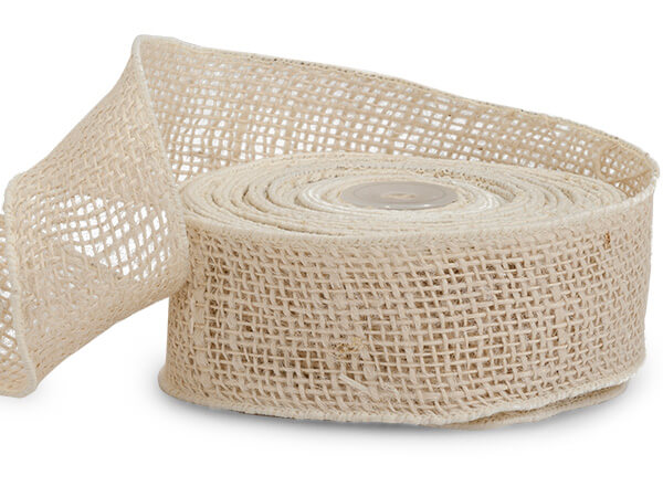 "Ivory Wired Burlap Ribbon 2""x10 yds 100% Jute"