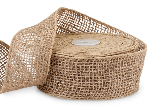 "Natural Wired Burlap Ribbon, 2""x10 yards"