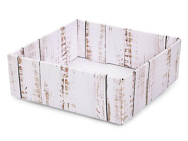 "Distressed Wood Gourmet Decorative 8x8x3"" Corrugated Trays"