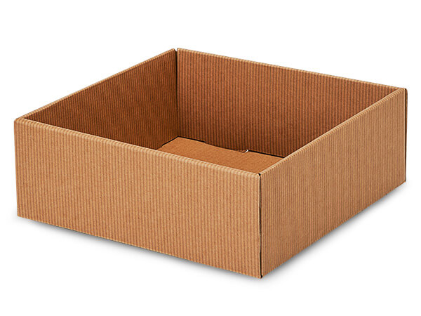 "Kraft Pinstripe Gourmet Decorative 8x8x3"" Corrugated Trays"