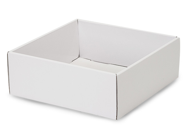 "White Gourmet Decorative 8x8x3"" Corrugated Trays"