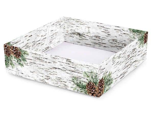 """Birch and Pine Gourmet Decorative Corrugated Tray,10x10x3"""", 6 Pack"""