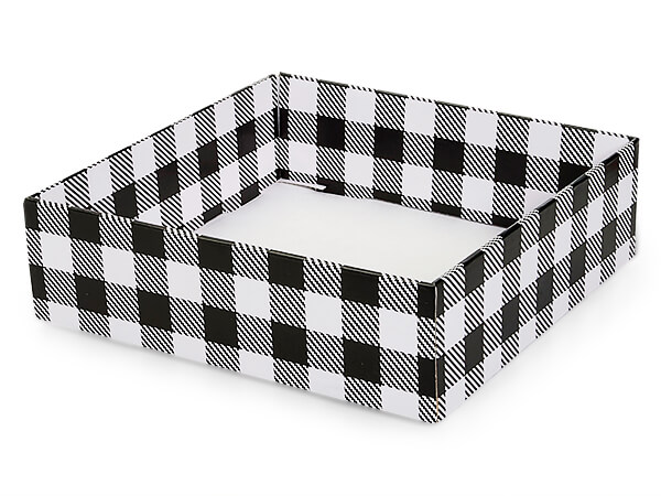 "Buffalo Plaid Black Gourmet Decorative10x10x3"" Corrugated Tray"