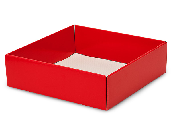 "Red Gourmet Decorative 10x10x3"" Corrugated Trays"