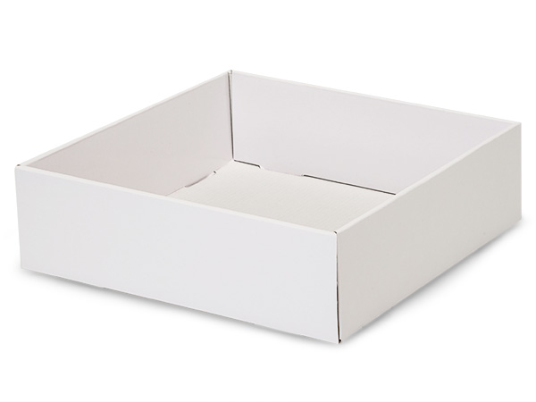 "White Gourmet Decorative 10x10x3"" Corrugated Trays"