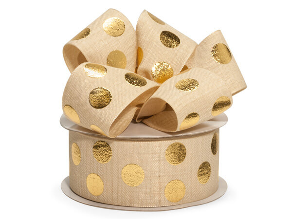 Gold Metallic Dot on Ivory Linen Ribbon, 1-1/2