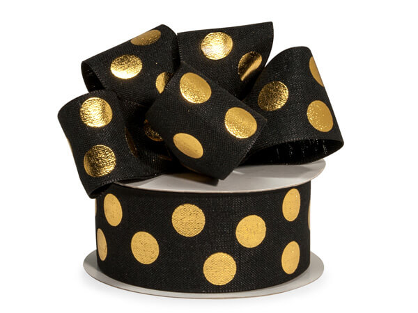 "Gold Metallic Dot on Black Linen Ribbon, 1-1/2""x10 yards"