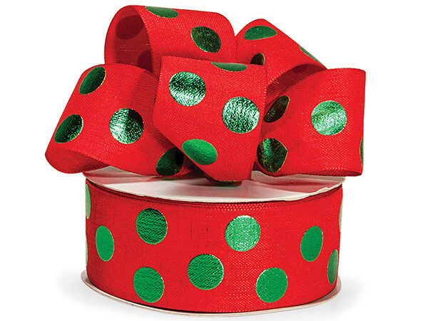 Green Metallic Dot on Red Linen Ribbon
