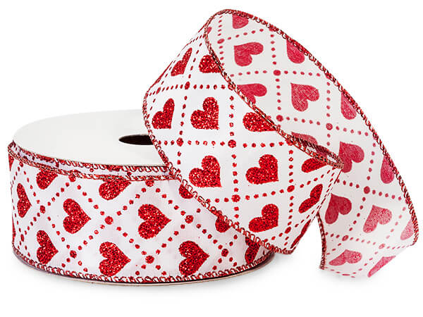 "Valentine Glitter Red Hearts on White Wired Ribbon, 1-1/2""x10 yards"