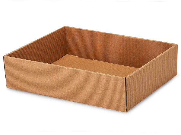 "Kraft Pinstripe Gourmet Decorative 12x9x3"" Corrugated Trays"